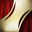Royalty-Free Stock Photo: Gold on red curtain