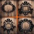 Vector retro frames on wood set - Stok Vektör