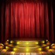 Red fabric curtain on golden stage — Stock Photo #23976979