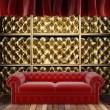 Red fabric curtain on golden stage — Stock Photo #23977025