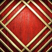 Madera de color rojo y fondo de oro — Foto de Stock