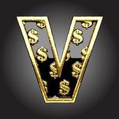 Vector letra preta com dólares — Vetor de Stock