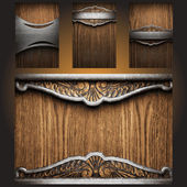 Vector metal on wood background set — Stock Vector