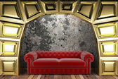 Golden stage with sofa — Stock Photo