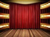 Red fabric curtain on golden stage — Stok fotoğraf