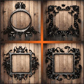 Vector retro frames on wood set — Stock Vector