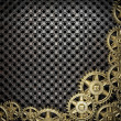Stock Photo: Gear wheels on metal background