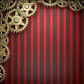 Gear wheels on red background — Stock Photo