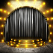 Stock Photo: Black fabric curtain on golden stage