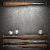 Baseball and metal wall background — Stock Photo