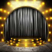 Black fabric curtain on golden stage — Stock Photo