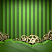 Gear wheels on green background — Stock Photo