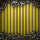 Gear wheels on yellow background — Stock Photo