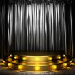 Black fabric curtain on golden stage — Stock Photo #26487173