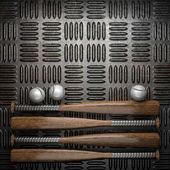 Baseball and metal wall background — Stockfoto