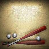 Baseball and golden wall background — Stock Photo