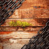 Fundo de metal e madeira — Vetor de Stock