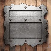 Metalen en houten achtergrond — Stockvector