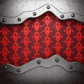 Metaal op rode achtergrond — Stockvector