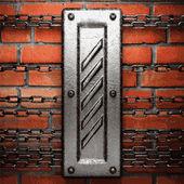 Sfondo di metallo e mattoni — Vettoriale Stock