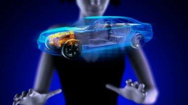 Transparent car concept on hologram — Stock Video