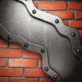 Fondo de metal y ladrillo — Vector de stock
