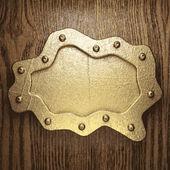 Goud en hout achtergrond — Stockvector