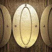 Fondo de oro y madera — Vector de stock
