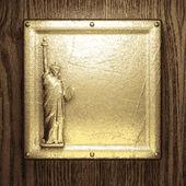 Sfondo oro e legno — Vettoriale Stock