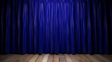 Loop light on blue fabric curtain — Stock Video