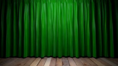 Döngü ışık yeşil kumaş perde — Stok video