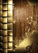 Guld och trä bakgrund — Stockvektor