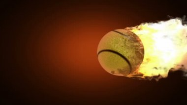 Burning tennis ball — Stock Video
