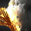 Burning skeleton OK sign. Alphmatted — Stock Video #31525609