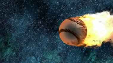 Burning baseball ball — Stock Video