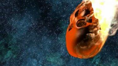 Burning skull. Alpha matted — Stock Video