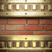 Gold on brick background — Stock Vector