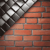 Metal and brick background — Stock Vector