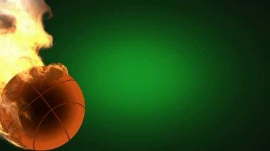 Burning basketball ball. Alpha matted — Stock Video