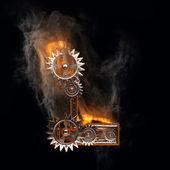 Gears ile yanan figür — Stok fotoğraf