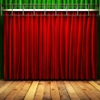 Stock Photo: Red fabrick curtain on stage