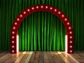 Green fabrick curtain on stage — Stock Photo