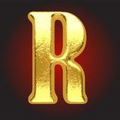 Vector golden letter on red — Stock Vector