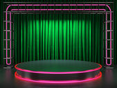 Fabrick curtain on stage with neon — Stock Photo