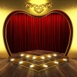 Red fabric curtain with gold on stage — Stock Photo