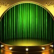 Green fabric curtain with gold on stage — Stock Photo