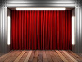 Red fabrick curtain on stage — Stock Photo