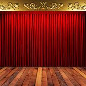 Rött tyg gardin med guld på scenen — Stockfoto