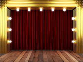 Red fabrick curtain with gold on stage — Stock Photo