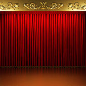 Red fabric curtain with gold on stage — ストック写真